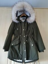 Miss Selfridge, Green, removable faux fur, warm and cosy coat-parka, Size UK14