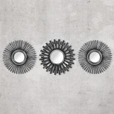 3pc Shabby Chic Round Sunburst Wall Mirrors Mirror Distressed Silver Home Decor
