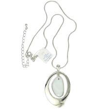 lia sophia signed jewelry white gold silver shell big pendant necklace chain