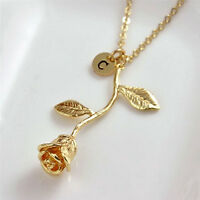 Charm Letter Rose Flower Pendant Necklace Gold Plated Women Necklace JewelryLD