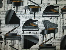 PIANO GRAND MUSIC NOTES BLACK WHITE COTTON FABRIC FQ OOP