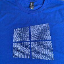 Microsoft Windows Logo Binary Code 01 0 1 Blue T Shirt Men's Large New
