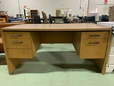 Used Brown Light Toned Wooden Desk With 5 Drawers - Local Pickup Only