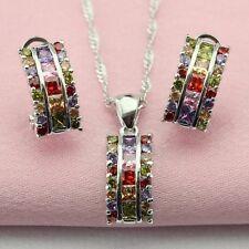 Amatista Piedra Granate Multi 925 Plata Colgante Collar & Pendientes Set