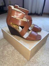 MICHAEL Michael Kors Jenna Wedge Sandals Cognac Brown 9M EUC