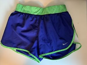 Nike DriFit XL Girls Blue Green Athletic running shorts pocket inside tie waist