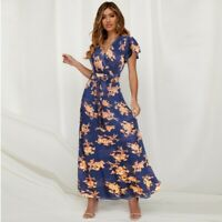 Long beach Floral Casual Cocktail V Neck Womens Fashion Maxi Evening Dress
