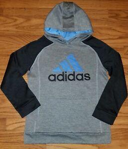 Adidas Youth Medium (10-12) Gray & Blue Hooded Sweatshirt *NWOT