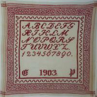 ANTIKES STICKMUSTERTUCH Anna 1893 Berlin Kreuzstich ca. 32 x 32 cm
