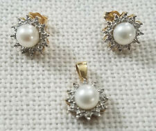 10k Vintage Yellow Gold Pearl and Diamond Halo Earring and Pendant Set