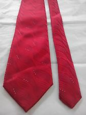 D Berite Men's Vintage Silk Tie in an Embossed Red Geometric Pattern