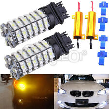 120-SMD White/Amber Dual Color Switchback 3157 LED Turn Signal Light + Resistor