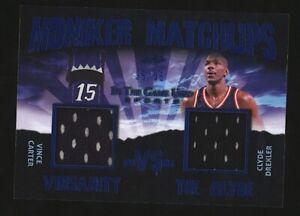 2020 Leaf Moniker Matchups VINCE CARTER/CLYDE DREXLER Blue Dual Jersey Patch /35
