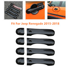 Carbon Fiber Side Door Handle Cover w/Smart Hole Fit For Jeep Renegade 2015-2018