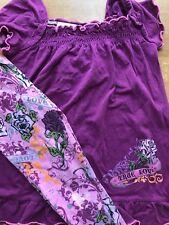Girls Flapdoodles 2pc Love Tattoo Floral Pink Purple Shirt & Leggings Set Size 5