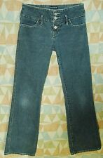 Exposed BUTTON FLY Wide Waistband Indigo Wash FLARE Low Rise BEBE Jeans! 27