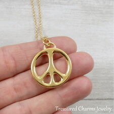 Gold Peace Sign Charm Necklace - Peace Symbol Love Hippie Pendant Jewelry NEW