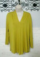 Cable & Gauge Top Blouse Size L Boho Long Sleeved Mustard V Neck