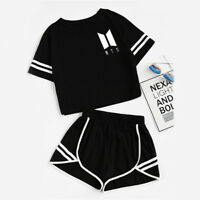 2PCS KPOP BTS Bangtan T-shirt + Shorts Girls V Jimin Jin Jung Suga Tee Set Suits