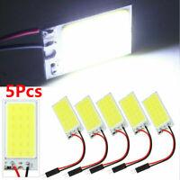 5Pcs White COB Led Panel Dome Light Interior Lamp 12V T10 Festoon Adapters Kits