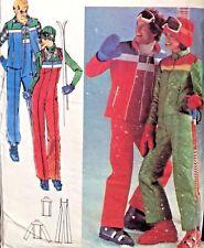 "Vtg Butterick 5111 Sew Pattern Men 38"" Ski Outfit Jacket Vest Bib Pants Jumpsuit"