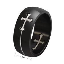 Stainless Steel Cross Black Titanium Ring Jesus Church Wedding Cocktail Sz7-14