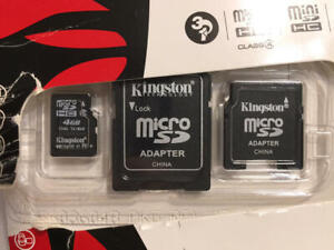 Kingston 4 GB Micro SDC4 Card with Adapters Open Package New Card