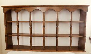 "Vintage Wood Tea Cup/Saucer Display Wall Shelf 37"", Curio Shelf"