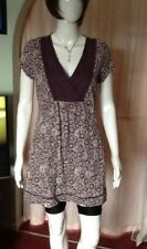 Maroon Thigh Length Top With White Floral Pattern From White Stuff Size 14