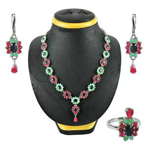 RUBY EMERALD IOLITE 925 Sterling SOLID Silver WOMAN GIFT Bridal Jewelry Set