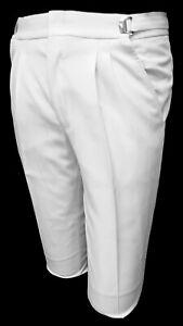 Men's White Tuxedo Pants Adjustable Waist with Satin Stripe Machine Washable