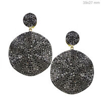 Sterling Silver Pave Diamond Vintage Style Dangle Earrings 14 K Gold Jewelry CY