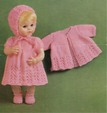 "VINTAGE KNITTING PATTERN COPY TO KNIT 14-16"" DOLL OUTFIT 1960'S- FITS BABY BORN"