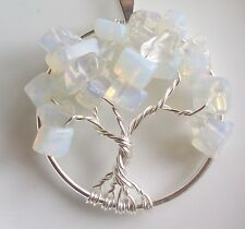 Handmade Tree of Life Pendant Genuine Opalite Moonstone October Birthstone USA