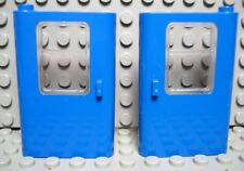 LEGO LEGOS  -  NEW Left & Right BLUE Train Doors with Glass Panel