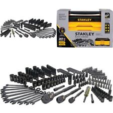 Stanley 207 Pcs Mechanics Tool Set Universal SAE Metric Ratchet Socket Kit Case