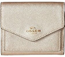 NEW COACH $99 Metallic Gold Small Envelope Tri-Fold Wallet Gold Hardware Women's