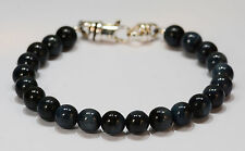 Bracelet~.925 Slg Silver~8Mm~8 1/2 In Beenjeweled Blue/Gray Tigers Eye Bead