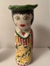 "Susan Paley Bella Casa Ma Vase 11� Hand Painted ""Daisy� By Ganz"
