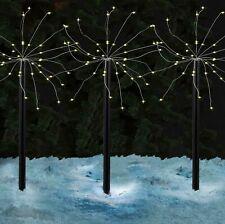 4 PACK 160 LED CHRISTMAS STARBURST STAKE LIGHT WARM WHITE GARDEN OUTDOOR XMAS