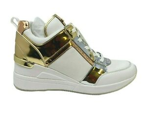Michael Kors Georgie Trainer Wedge Sneaker Lace MK Logo Gold White Brand New