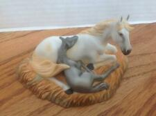 Franklin Mint World of the Horse Collection ~ Camargue Mare & Foal Figurine Vgc