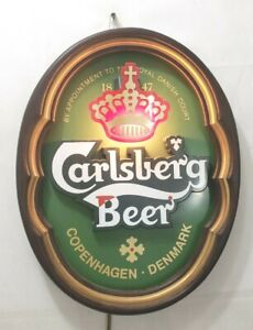 """Carlsberg Beer Lighted Wall Hanging Sign - Everbright Oval Wooden Housing 16X12"""""""