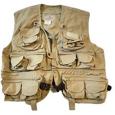 Woodfield Fly Fishing Vest Khaki Men Size L Multi Pocket Hooks