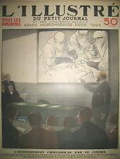 MEDECINE ET CINEMA ENSEIGNEMENT CHIRURGICAL PROF GOSSET LE PETIT JOURNAL 1933