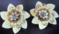 Pale Yellow Glass Flower Petal Vintage Clip Earrings