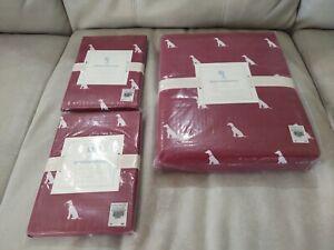 Pottery Barn Kids Organic RED Full-Queen Dog Duvet Cover + 2 Dog Sham pillowcase