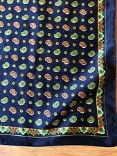 VINTAGE WOMENS SQUARE SCARF HEADSCARF BLUE RED WHITE PAISLEY MOD 70s (sc57)