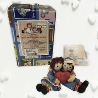 "Raggedy Ann & Andy Enesco Figurine ""I Love You"" Seated W/ Heart In Original Box"