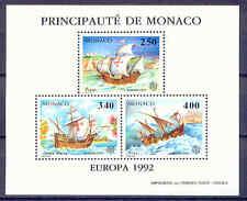 Kolumbus, Schiffe - Monaco - 1 Sonderblock ** MNH 1992